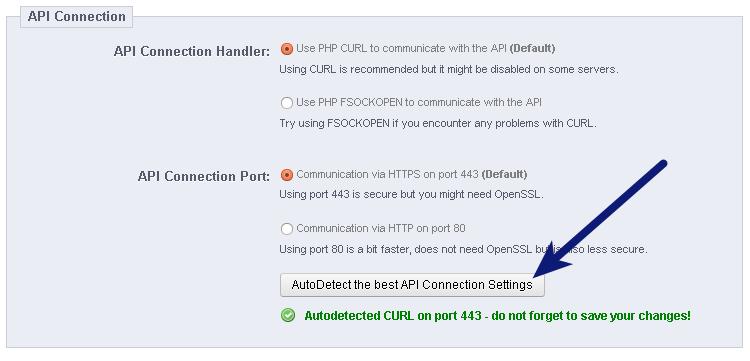 AutoDetect API Settings PrestaShop