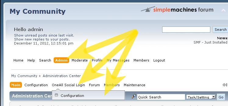 Social Login for Simple Machines Forum: Configuration