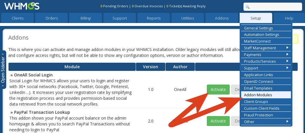 WHMCS Social Login Activate
